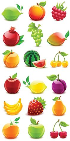 Fruit vector icons. 2 sets with beautiful vector fruit icons. There are different kind of vector fruits, such as lime, peach, raspberry, pomegranate, grapes, mango, apricot, watermelon, yellow sweet cherry, apple, lemon, plum, banana, strawberry, pear, orange, cherry. Format: EPS…: