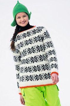 Den skønne, varme sweater er topmoderne med mønster i sort-hvid og kontrastfarvede kanter – og så får du også opskrift på den smarte hue