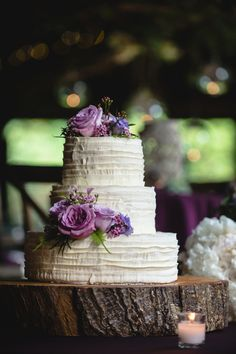 Simple and Elegant Purple Wedding Cake | A Purple Rustic Elegant Asheville Wedding via TheELD.com | Two Ring Studios