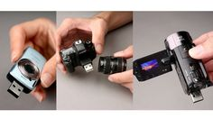 Tiny Camera Shaped USB Sticks via Gizmodo: Models include Canon 5D DLSR, IXUS 200IS and Legra HD. Each has a retractable USB arm and 4GB of storage.  #USB_STick #Canon #gizmodo