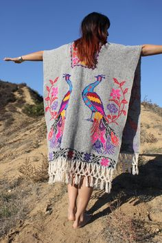 Beautiful Bohemian Mexican Peacocks Hand Embroidered Wool Poncho Circa 1960s 1970s