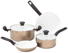 Tfal C714S6 Initiatives Nonstick Ceramic Coating PTFE PFOA and Cadmium Free Scratch Resistant Dishwasher Safe Oven Safe Cookware Set 6Piece Gold *** Find out more about the great product at the affiliate link Amazon.com on image.