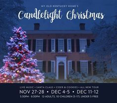 The Federal Hill mansion at My Old Kentucky Home State Park will be bathed in the warm glow of candlelight. Carolers from the Stephen Foster Story will be singing for guests outside of the mansion.  Guides dressed in period attire will greet you at the door to escort you back in time. #kentucky #kystateparks #myoldkentuckyhome