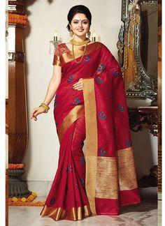 Pink Handloom Tussar Silk Fancy Silk Saree