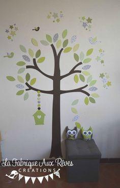 stickers arbre hibou oiseaux nichoirs papillons mint vert d\'eau ...