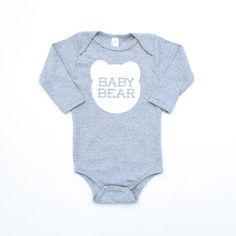 Baby Bear Cotton Long Sleeve One Piece Romper in by maisonwares