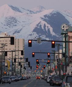 Anchorage, Alaska | mix the ugly and ordinary (street lights) with the majestic (mountains).