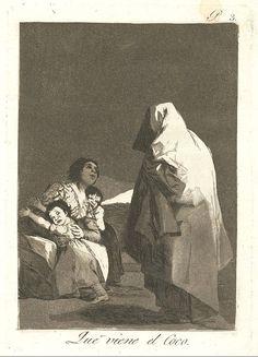 """El título de este aguafuerte es: """"Que viene el coco"""". Es ungrabadode la serieLos Caprichos. Está numerado con el número 3 en la serie de 80 estampas. Se publicó en 1799. Explicación de esta estampa del manuscrito del Museo del Prado:Abuso funesto de la primera educación. Hacer que un niño tenga más miedo al Coco que a su padre y obligarle a temer lo que no existe.Las madres meten miedo a sus hijos con el Coco para hablar con sus amantes."""