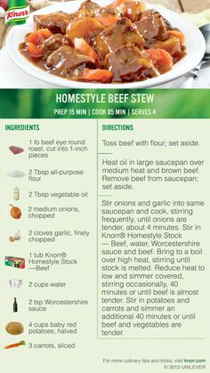 Homestyle Beef Stew from Knorr Side Recipes, Meat Recipes, Cooking Recipes, Soups And Stews, Beef Stews, Classic Stew Recipe, A Food, Food And Drink, Casserole Dishes