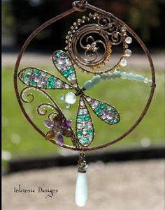 Multi Gemstone and Wire Dragonfly Sun-catcher with Sea Foam Chalcedony Drop. Wire Wrapped Jewelry, Wire Jewelry, Beaded Jewelry, Handmade Jewelry, Jewellery, Earrings Handmade, Copper Jewelry, Wire Crafts, Bead Crafts
