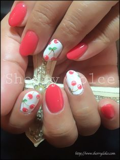 red and white with cherries nail art design