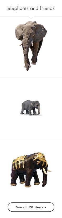 """elephants and friends"" by terrilewis ❤ liked on Polyvore featuring animals, elephants, animaux, fillers, tubes, home, home decor, elephant, wooden home decor and elephant figure"