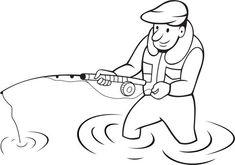 Resultado de imagem para pescador de desenhos animados para colorir