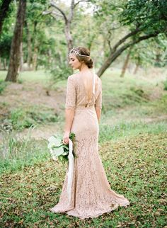 nude lace wedding dress, photo by Marcie Meredith Photography http://ruffledblog.com/south-african-inspired-photography-workshop #weddingdress #brides