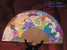ABANICO LAS VIRGENES DE KLIMT | Manualidades Painted Fan, Hand Painted, Umbrellas Parasols, Shapes, Painting, Vintage, Hand Fans, Screens, Breeze