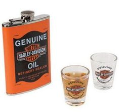 Harley-Davidson Genuine Motor Oil Can Hip Flask Set 8 oz. stainless steel hip flask with Genuine Oil Graphics Two 1 oz. shot glasses Flask dimensions: x x Harley Davidson Oil, Shot Glass Set, Drinking Buddies, Coffee Gifts, Wine Gifts, Canning, Stainless Steel, Cheers, Motorcycles
