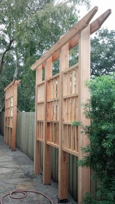 The pergola kits are the easiest and quickest way to build a garden pergola. There are lots of do it yourself pergola kits available to you so that anyone could easily put them together to construct a new structure at their backyard. Privacy Trellis, Privacy Fence Designs, Garden Privacy, Privacy Landscaping, Backyard Privacy, Backyard Fences, Garden Trellis, Cedar Trellis, Outdoor Privacy Screens