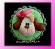 *POLYMER CLAY ~ Cute Puppy Polymer Clay Bottle Cap Bead, Scrapbooking, Bow Center, Pendant, Cupcake topper, Magnet