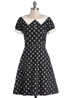 What'll It Beetle? Dress. After slipping off your retro sunnies, you stroll inside your favorite diner, gently smooth out the skirt of this collared, beetle-print dress by Bea Dot, and take a seat by the window. #black #modcloth