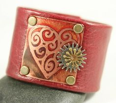 Red Heart Leather Cuff - Etched Copper Mixed Metal | WhimOriginals - Jewelry on ArtFire