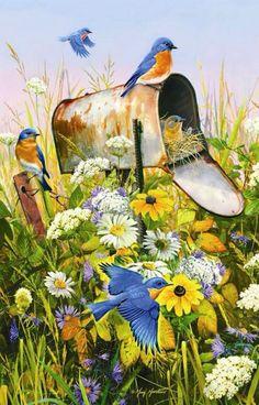 Surprise Package is a 1000 piece jigsaw puzzle from SunsOut featuring artwork by Greg Giordano. Bird Cards, Bird Pictures, Watercolor Bird, Bird Prints, Beautiful Birds, Blue Bird, Pet Birds, Flower Art, Art Projects