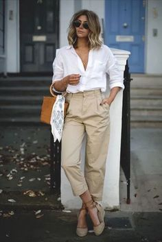 Summer Casual Street Chic - For Esther's Xmas tree - Summer Work Outfits, Casual Work Outfits, Mode Outfits, Classy Outfits, Office Outfits, Spring Outfits, French Chic Outfits, Summer Work Fashion, Summer Shoes