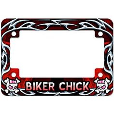 Biker Chick Red MC License Plate Frame