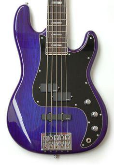 Shuker PJ bass translucent blue 5 string