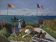 Claude Monet (French, Garden at Sainte-Adresse, The Metropolitan Museum of Art, New York. Monet painted this canvas in the summer of 1867 in a Sainte-Adresse garden with a view of Honfleur at the horizon. Claude Monet, Monet Paintings, Landscape Paintings, Artwork Paintings, Seascape Paintings, Monet Garden, Artist Monet, Pierre Auguste Renoir, Edouard Manet