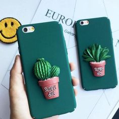 Fashion 3D Cartoon Cactus Case For iphone 5 5s  Phone Cases For iphone 6S 6 7 PLus Cute Plants Flower leaves Back Cover Capa DIY