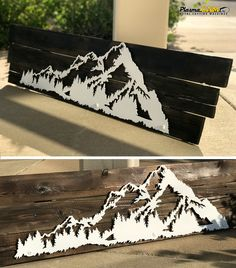 Mountain Art Scene on Barnwood. Cut with a PlasmaCAM machine. #cncplasma #metalart #mountains #barnwood #rustic #plasmacutting