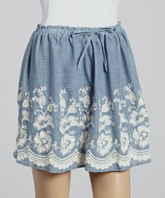Love this kersh Blue & White Floral Drawstring Skirt by kersh on #zulily! #zulilyfinds