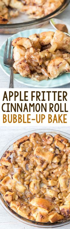 Easy Apple Fritter Cinnamon Roll Bake - canned cinnamon rolls mixed with cinnamon apples baked like monkey bread! It's like an apple fritter cinnamon roll! Great for Thamksgiving morning for breakfast. Apple Desserts, Apple Recipes, Fall Recipes, Bread Recipes, Apple Fritter Recipes, Baking Desserts, Donut Recipes, Easy Desserts, Brunch Recipes