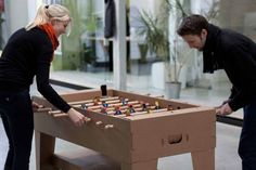 Fantastic Cardboard Foosball Table Made From All Recyclable Materials #geek