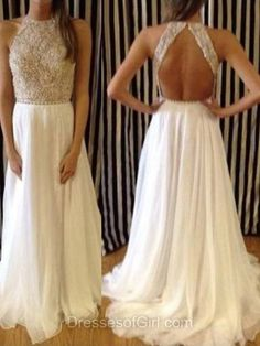 Backless Prom Dress, Aline Prom Dresses, Chiffon Evening Dresses, High Neck Party Dresses, White Formal Dresses