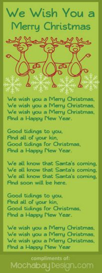 Bluebonkers rockin around the christmas tree free printable we wish you a merry christmas free printable christmas holiday song lyrics stopboris Gallery