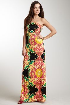 Arancia Strapless Ruched Maxi Dress
