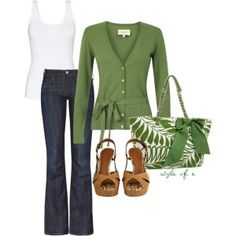 Green and white casual outfit. Green cardigan $30 lauraashley.com http://styleofe.polyvore.com/