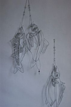 Fish object/sculpture, made from iron wire - By Catherine Gonthier