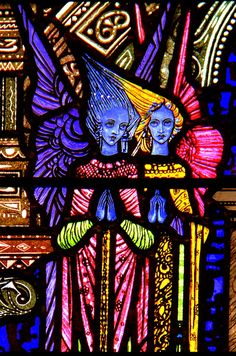 Two Angels Detail from stained glass window in Cavan Cathedral by Harry Clarke