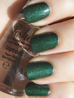 Zoya polish - Green glitter nails
