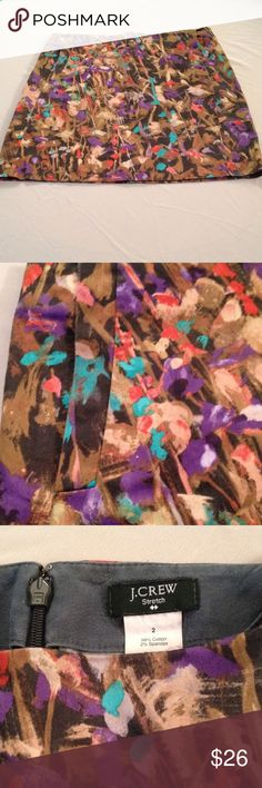 Watercolor print J Crew Skirt Fitted, Hidden pockets. Browns/red/peach/teal. Zips in back. Stretch. J. Crew Skirts Mini