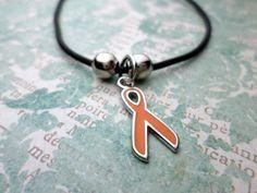 Orange Ribbon Bracelet Leukemia Awareness by HandmadeLoveStories, $5.00