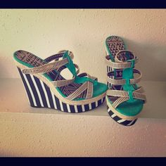 JESSICA SIMPSON wedges Worn once. Too tall of heel for me but too cute to be sitting in my closet! Jessica Simpson Shoes