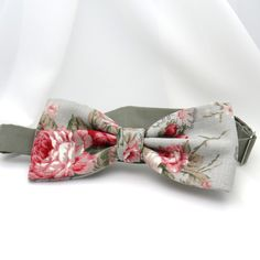f382701a7fa0 Dusty Gray Bow Tie Shabby Chic Floral Bow Tie Red Pink Rose Women Men Teen  Boy Baby Toddler Kid Children Pretied Party Gift Wedding Groom