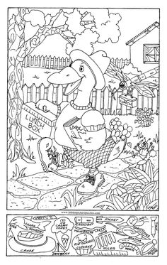 Hidden Pictures Page - Print your free hidden pictures page at AllKidsNetwork.com Coloring Pages For Grown Ups, Adult Coloring Book Pages, Colouring Pages, Coloring Sheets, Coloring Books, Cat Coloring Page, Free Coloring, Line Art, Hidden Pictures Printables