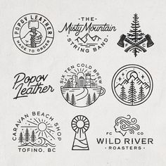 A selection of branding elements from the last few months! Logo Branding, Branding Design, Branding Iron, Corporate Branding, Brand Identity, Outdoor Logos, Line Art, Hand Drawn Logo, Vintage Logo Design