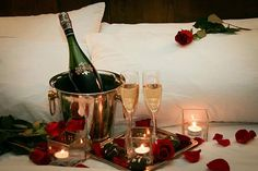 Romantic Bedroom Decor ideas for Valentine day with candles and fall flower