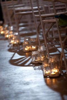 Mason jars. If I wanted a conventional wedding, this would be the perfect decor.