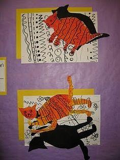 cat on a mat leikkaa kissa ja varjo, käy myös omakuvaan Kindergarten Art Lessons, Art Education Lessons, Art Lessons Elementary, First Grade Art, 2nd Grade Art, Fete Halloween, Shadow Art, Middle School Art, High School